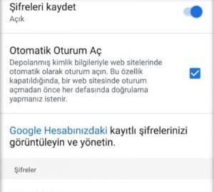 google chrome sifreler menu ayarlar sifreler